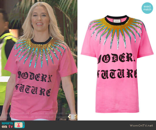 Logo Patch T-shirt by Gucci worn by Erika Girardi on The Real Housewives of Beverly Hills