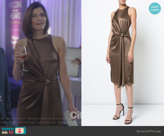 Tie Knot Detail Dress by Halstson Heritage worn by Heather Hughes (Betsy Brandt) on Life in Pieces