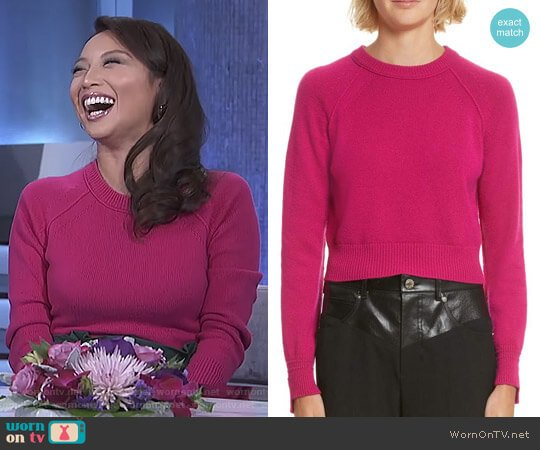 Cashmere Crop Sweater by Helmut Lang worn by Jeannie Mai  on The Real