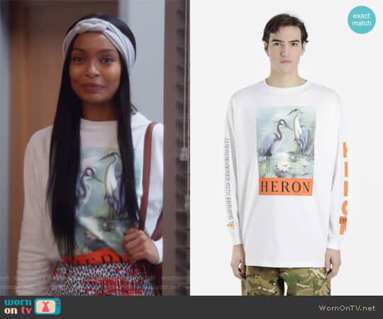 White Long Sleeved Printed T-shirt by Heron Preston worn by Zoey Johnson (Yara Shahidi) on Grown-ish