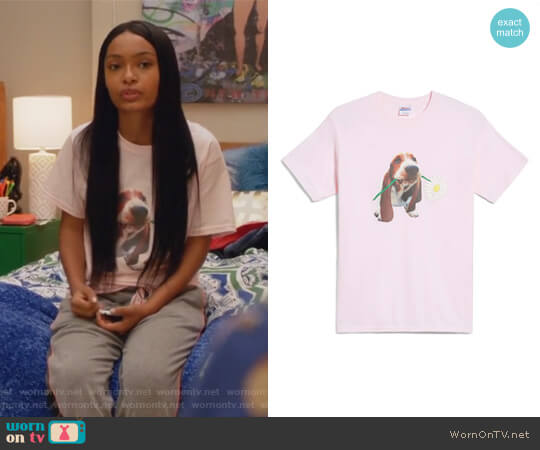 Dean the Basset Flower T-Shirt by Hanes worn by Zoey Johnson (Yara Shahidi) on Grown-ish