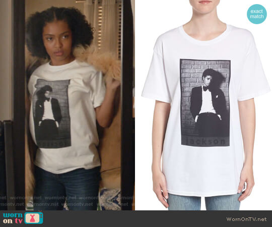 Michael Jackson T-Shirt by Hanes worn by Zoey Johnson (Yara Shahidi) on Grown-ish
