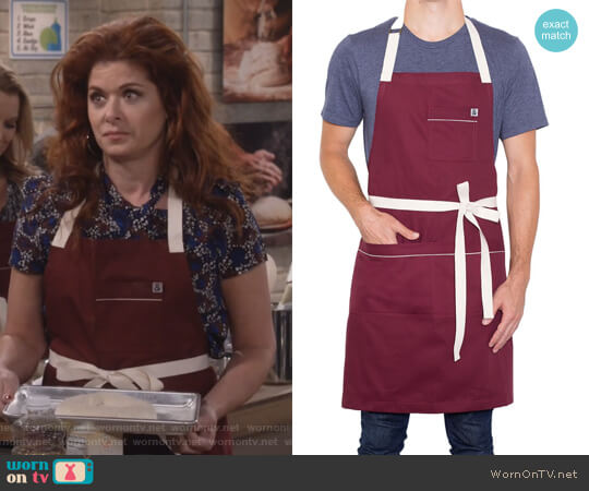 Bordeaux Apron by Hedley & Bennett worn by Debra Messing on Will & Grace