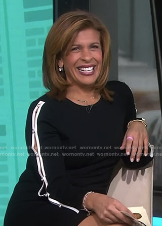Hoda's black pearl button sleeve dress on Today