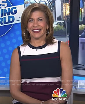 Hoda's striped sleeveless dress on Today