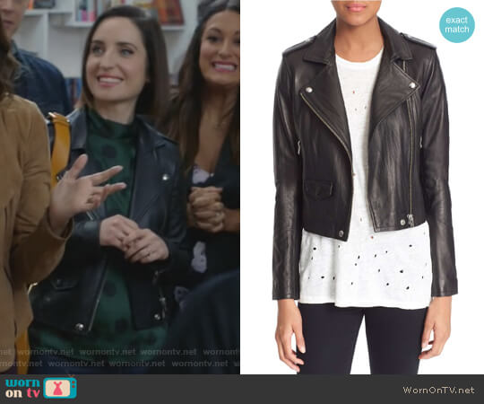IRO Ashville Leather Jacket worn by Zoe Lister-Jones on Life in Pieces