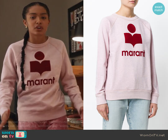 Milly sweatshirt by Isabel Marant Etoile worn by Zoey Johnson (Yara Shahidi) on Grown-ish
