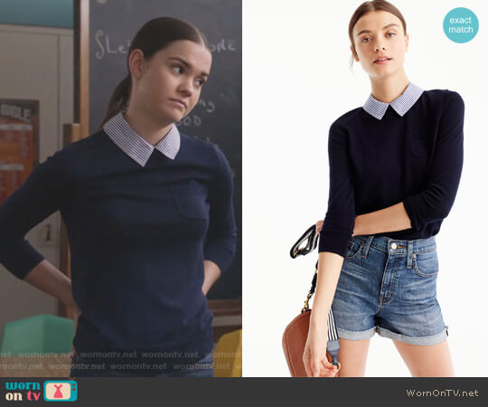 Collared Tippi sweater by J. Crew worn by Maia Mitchell on The Fosters