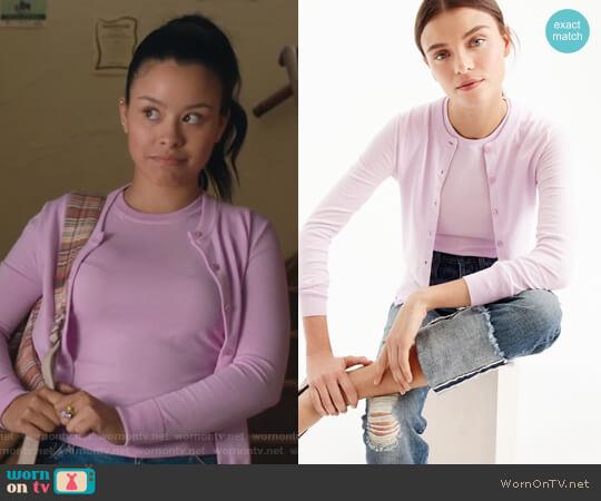 Cotton Jackie cardigan sweater by J. Crew worn by Mariana Foster (Cierra Ramirez) on The Fosters