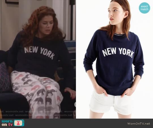 New York sweatshirt by J.Crew worn by Grace Adler (Debra Messing) on Will & Grace