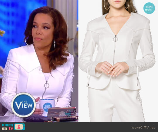 Lace-up crepe peplum jacket by Jonathan Simkhai worn by Sunny Hostin  on The View