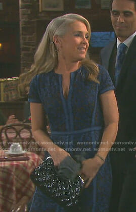 Jennifer's blue floral lace dress on Days of our Lives