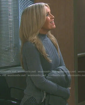 Jennifer's grey ribbed mockneck sweater on Days of our Lives