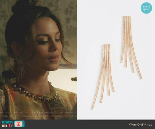 Crisscross Statement Earrings by Joanna Laura Constantine worn by Nathalie Kelley on Dynasty