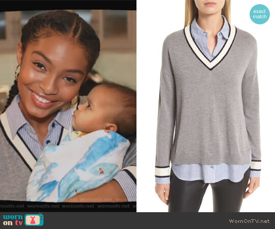 Belva Layered Look Sweater by Joie worn by Zoey Johnson (Yara Shahidi) on Grown-ish