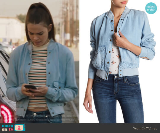 Briggite Denim Bomber Jacket by Joe's Jeans worn by Maia Mitchell on The Fosters