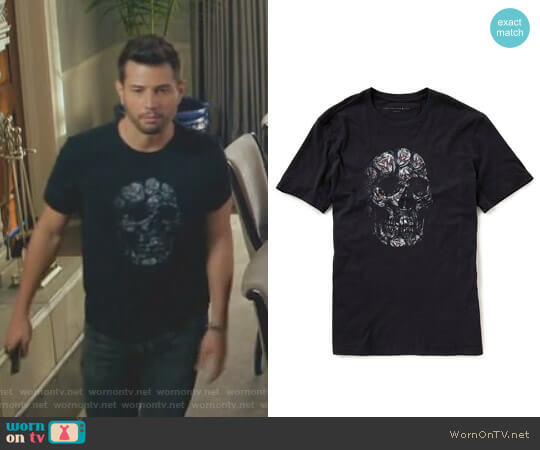 Floral Skull Graphic Tee by John Varvatos worn by Sam Flores (Rafael de la Fuente) on Dynasty
