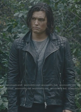 John's black quilted shoulder moto jacket on The Gifted