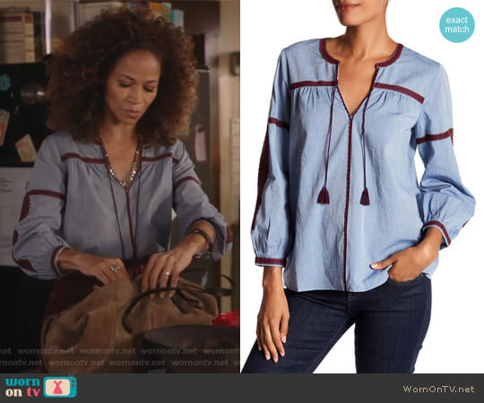 Embroidered Chambray Long Sleeve Blouse by Joie worn by Sherri Saum on The Fosters