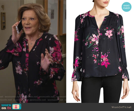 Keno Floral-Print Blouse by Joie worn by Judy Roberts (Linda Lavin) on 9JKL