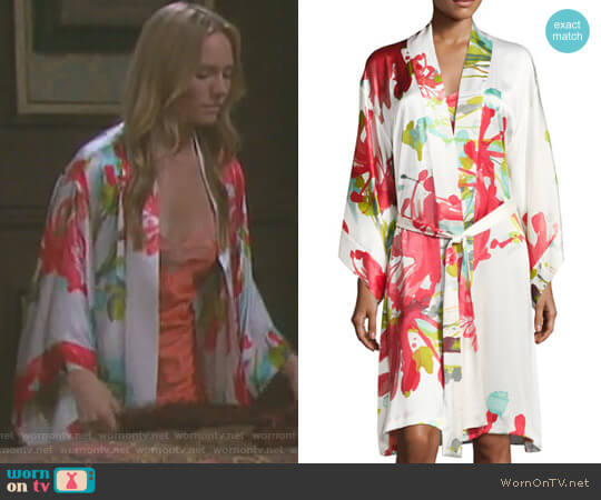 Tropics Floral-Print Robe by Josie Natori worn by Abigail Deveraux (Kate Mansi) on Days of our Lives