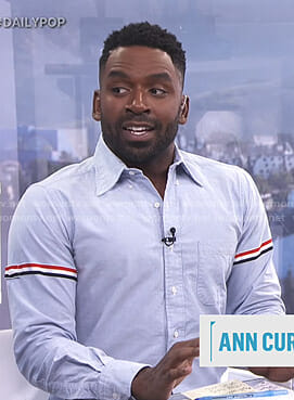 Justin's blue shirt with striped sleeves on E! News Daily Pop