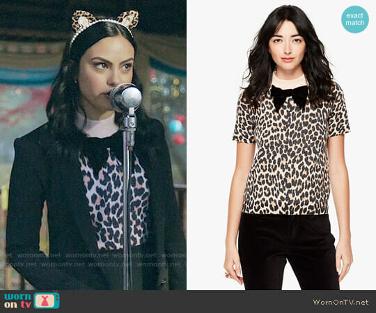 Kate Spade Leopard Print Velvet Bow Sweater worn by Camila Mendes on Riverdale