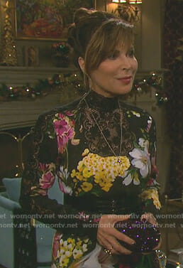 Kate's black floral lace neckline gown on Days of our Lives