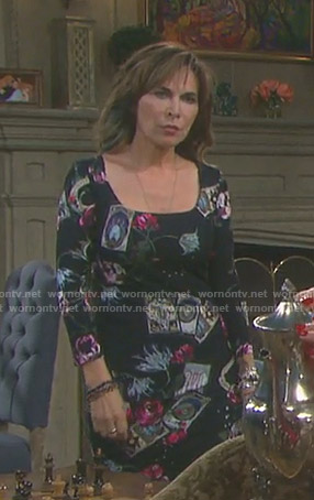 Kate's black tarot card print dress on Days of our Lives