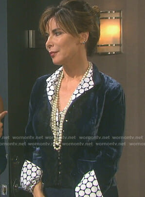 Kate's circular print blouse on Days of our Lives