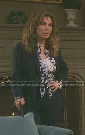 Kate's navy pinstriped lace-up suit on Days of our Lives