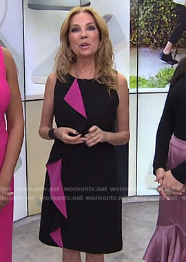Kathie's black and pink ruffled sleeveless dress on Today