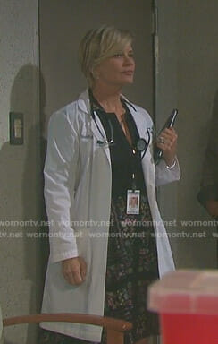 Kayla's zip front dress with floral skirt on Days of our Lives