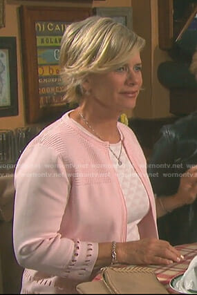 Kayla's pink cutout cardigan on Days of our Lives