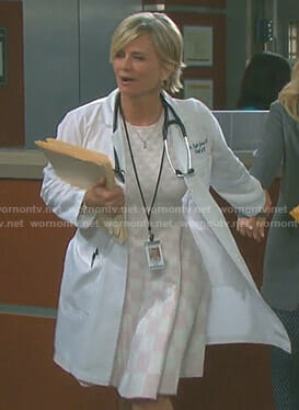 Kayla's white and pink checkerboard print dress on Days of our Lives