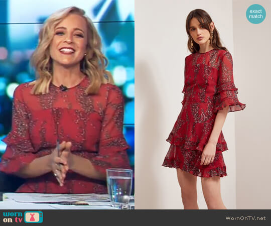 Light Up Mini Dress Red Wildflower Floral by Keepsake worn by Carrie Bickmore  on The Project