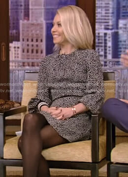 Kelly's black dotted dress with banded cuffs on Live with Kelly and Ryan
