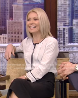 Kelly's white pleated tie blouse on Live with Kelly and Ryan