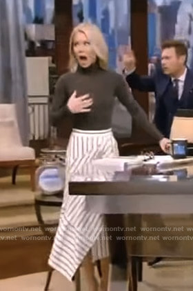 Kelly's white striped asymmetric skirt on Live with Kelly and Ryan
