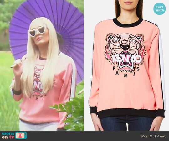 Crepe Back Satin Tiger Sweatshirt by Kenzo worn by Erika Girardi  on The Real Housewives of Beverly Hills