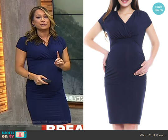 Kristen Ruched Maternity/Nursing Dress by Kimi and Kai worn by Ginger Zee  on Good Morning America