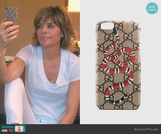 Kingsnake print iPhone 6 case by Gucci worn by Lisa Rinna (Lisa Rinna) on The Real Housewives of Beverly Hills