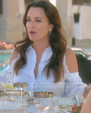 Kyle's blue striped cold-shoulder shirt on The Real Housewives of Beverly Hills