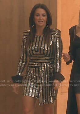 Kyle's sequin striped dress with black cuffs on The Real Housewives of Beverly Hills