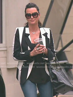 Kyle's black and white striped blazer on The Real Housewives of Beverly Hills