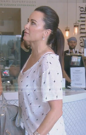 Kyle's white lightning print tee on The Real Housewives of Beverly Hills