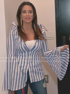 Kyle's blue striped bell sleeve shirt on The Real Housewives of Beverly Hills
