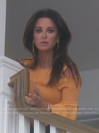 Kyle's yellow smocked cold-shoulder top on The Real Housewives of Beverly Hills