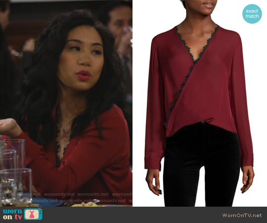 Rosario Lace Trimmed Silk Top by L'Agence worn by Eve Roberts (Liza Lapira) on 9JKL