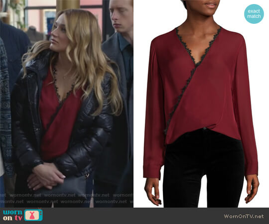 Rosario Lace Trimmed Silk Top by L'Agence worn by Clementine Hughes (Hunter King) on Life in Pieces